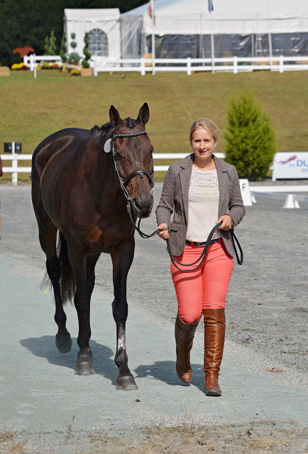 Fair Fiona, one of Boyd's first homebreds and Ray Price's dam, at the 2016 Dutta Corp Fair Hill International with Ellie Luther. Photo by Jenni Autry.