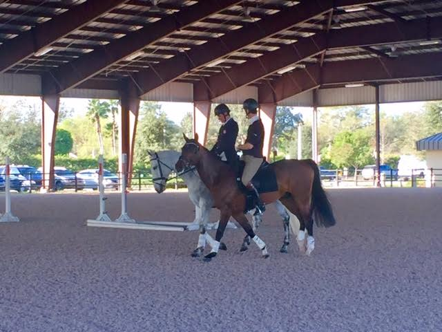 Boyd and William Fox-Pitt riding together before Boyd's dressage. Photo by Brooke Schafer.