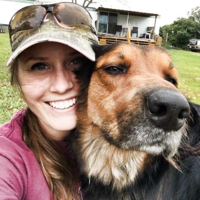Alayna's dog, Jack From State Farm, was thankfully uninjured in the tornado.