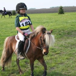 Ava Davis prepares to tackle cross country course last year on her first mount, a Shetland pony by the name of Hot Sauce. Photo courtesy of Pat Schmidt.