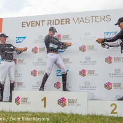 Podium celebrations at Event Rider Masters Barbury. Photo courtesy of eventridermasters.tv/Ben Clarke.