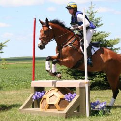 Shirley and her Irish Sport horse, Fernhill Romeo, easily clear one of the cross country jumps at Roebke's Run. Photo courtesy of Pat Schmidt.