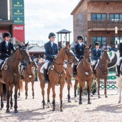 AEC 2016 competitors during an awards ceremony in the George H. Morris Arena. Photo courtesy of Leslie Mintz/USEA.