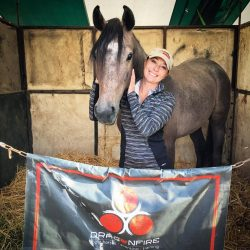 A very happy Jen McFall with homebred Hallelujah DF, Champion 2-year-old FEH. Photo courtesy of Jen.