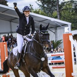 Gwendolen Fer celebrates her win with Romantic Love. Photo by Libby Law.