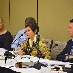 USEA President Carol Kozlowski speaks during the Sunday Board of Governors Meeting. Photo by Jenni Autry.
