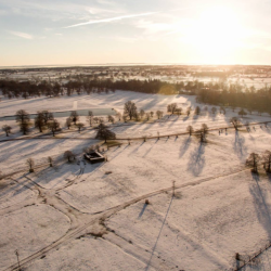 The Badminton Horse Trials grounds under a fresh blanket of snow. Photo by Whirlybird Imaging.