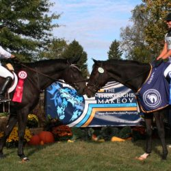"""""""The Allisons"""" (Allison Thompson and Alison Wilaby), who finished 1st and 2nd in the Thoroughbred Makeover Eventing division in 2017; Alison Wilaby also won Dressage. Photo by Stephanie Griffiths."""