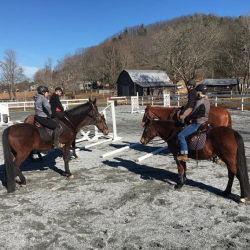 When the ice finally melts and you're just glad to be sitting on a horse among friends.