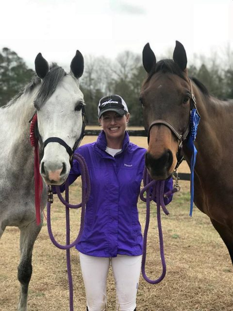 Holly Payne Caravella with CharmKing and Avant Garde after a successful weekend at Pine Top Farm.