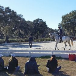 Jacob Fletcher in a flat lesson with Leslie Law. Photo by Christina Vaughn, US Equestrian.