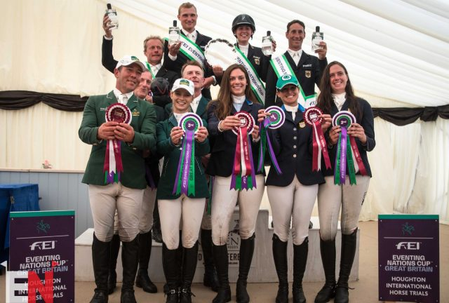 The Nations Cup podium at Houghton International: Germany take the win, USA finish in second place, and Ireland scoop third. Photo by Tilly Berendt.