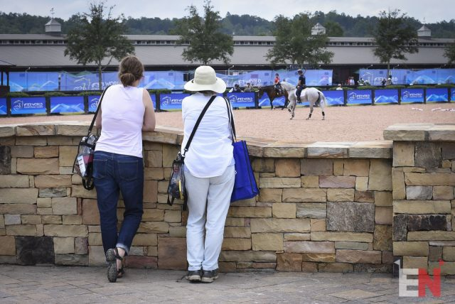 Spectators watch one of the practice arenas. Photo by Shelby Allen.