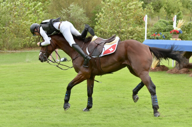 An amazing save for Swiss rider Robin Godel!