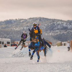 Jen Johnson in the tack and Sarah Broussard skiing in the 2017 Skijoring at Rebecca Farm costume class. Photo by Tommy Diegel Photography.