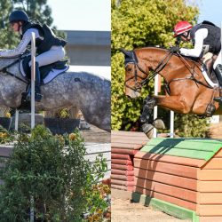 2019 Champs: 5-year old Mucho Me Gusto & Allyson Hartenberg, left; 4-Year-Old Keep Calm & Amber Levine, right. Photo by US Eventing courtesy of Twin Rivers Ranch.