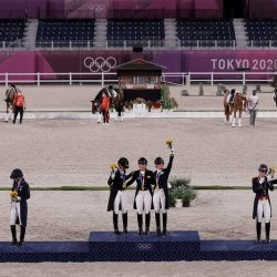 The winning podium: Germany Gold, USA Silver and Great Britain Bronze. Photo by FEI/Christophe Taniere.