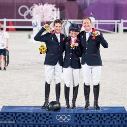 Golden Great Britain! Tom McEwen, Laura Collett and Oliver Townend. Photo by Shannon Brinkman Photography.