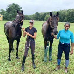 Dappir Ridge team members Adriana Nannini and Anna White, with their horses Wicked Soprano and Black Spartacus. Photo courtesy of Kate Mumbauer.